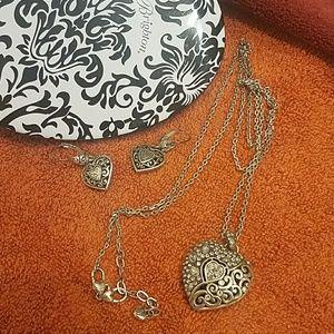 Brighton heart necklace earing set